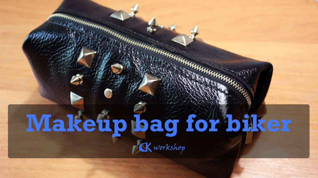 Faux leather makeup bag with studs