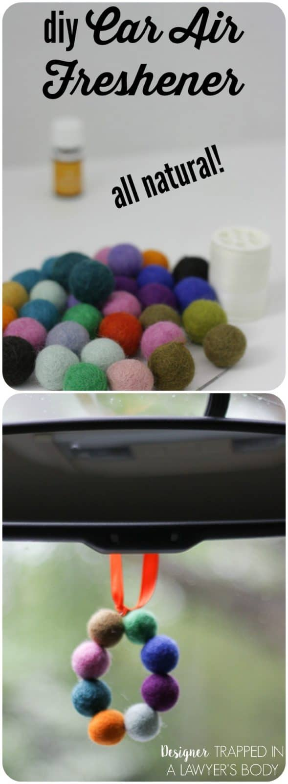 Felted pom pom car air freshener