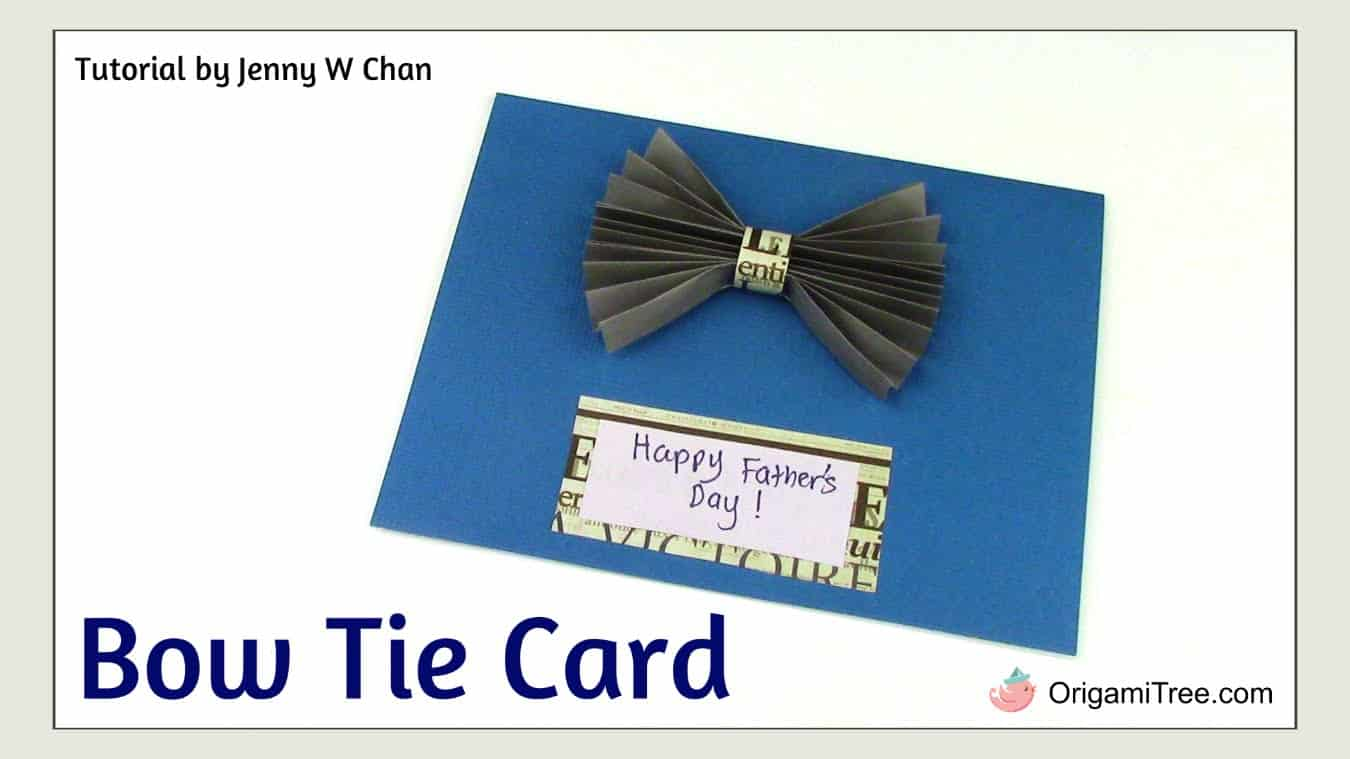 Folded paper bow tie card