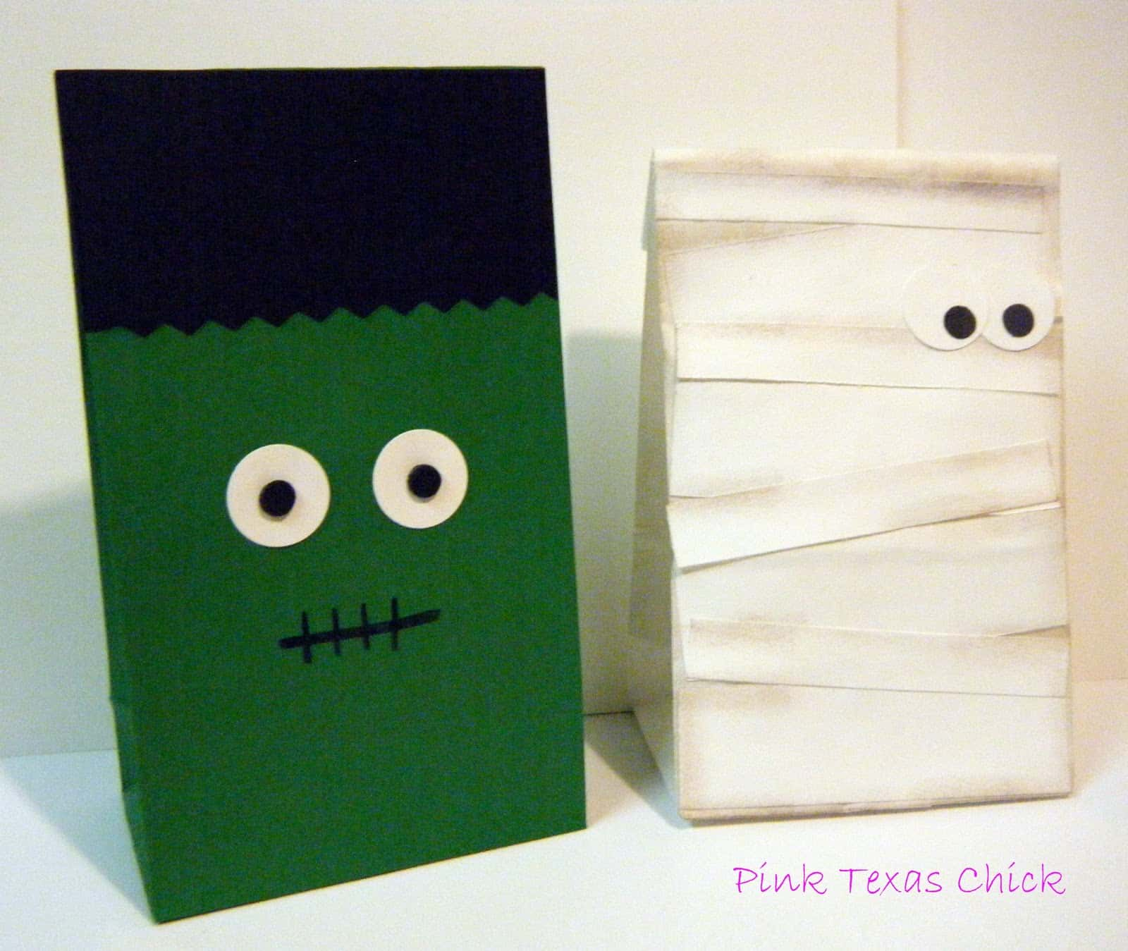 Frankenstein and mummy paper candy bags