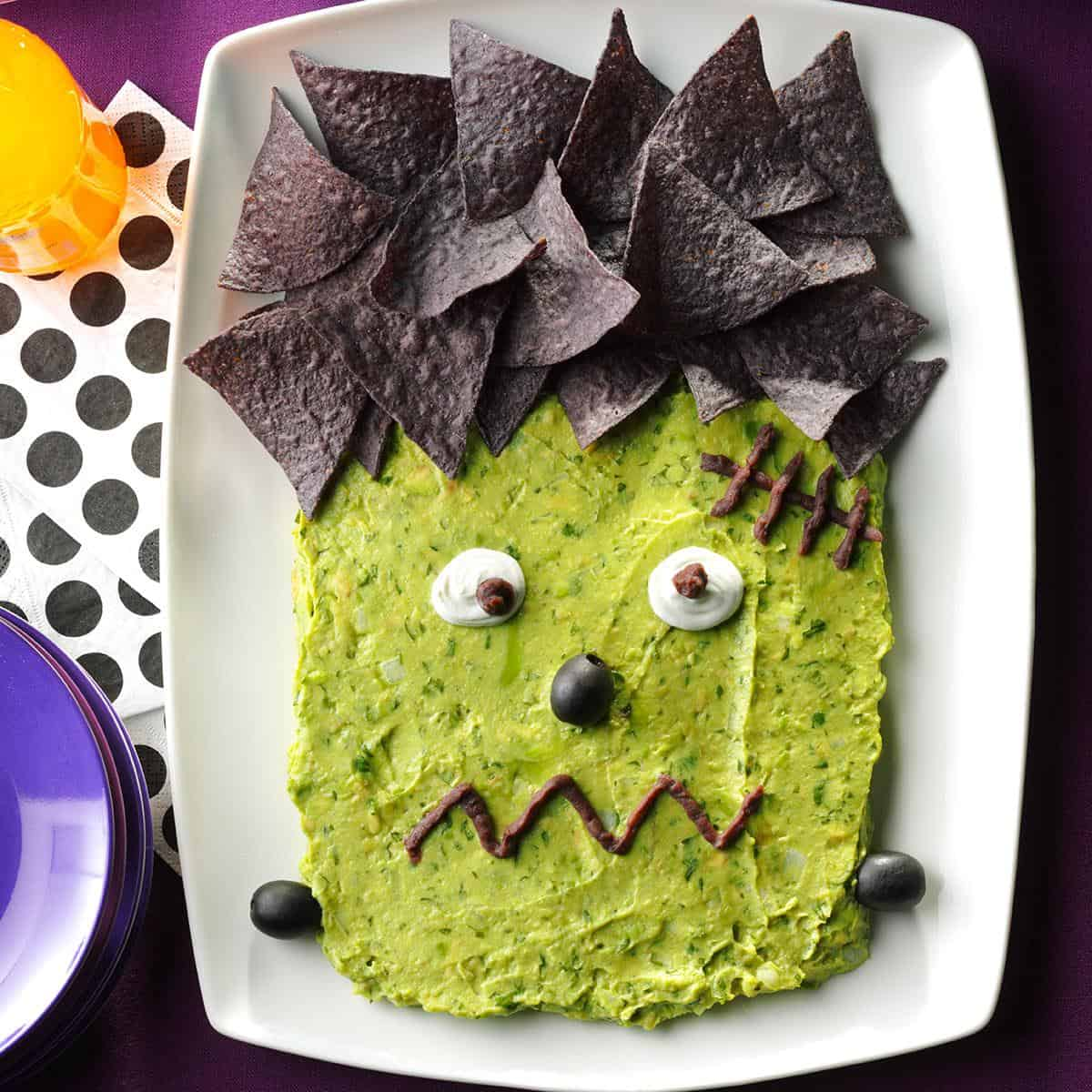 Frankenstein nachos and guacamole