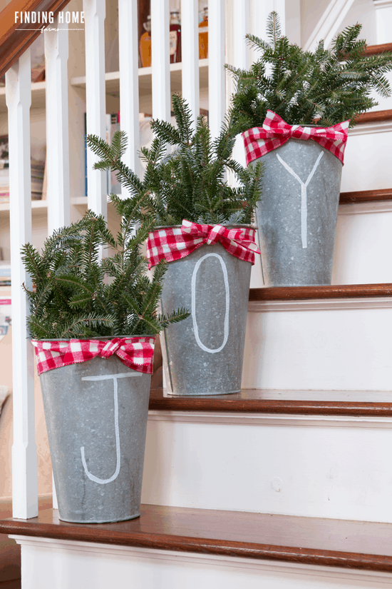Galvanized christmas buckets diy