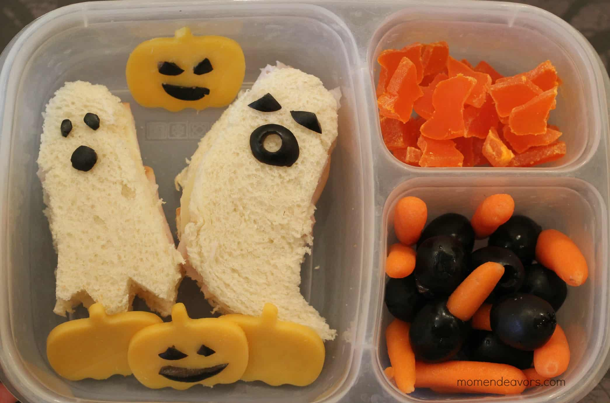 Ghost sandwiches and pumpkin cheese