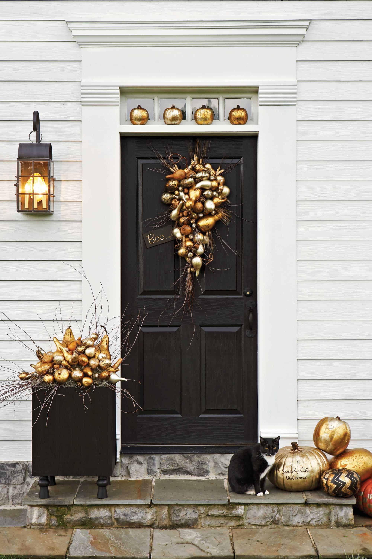 Gilded pumpkins front door diy