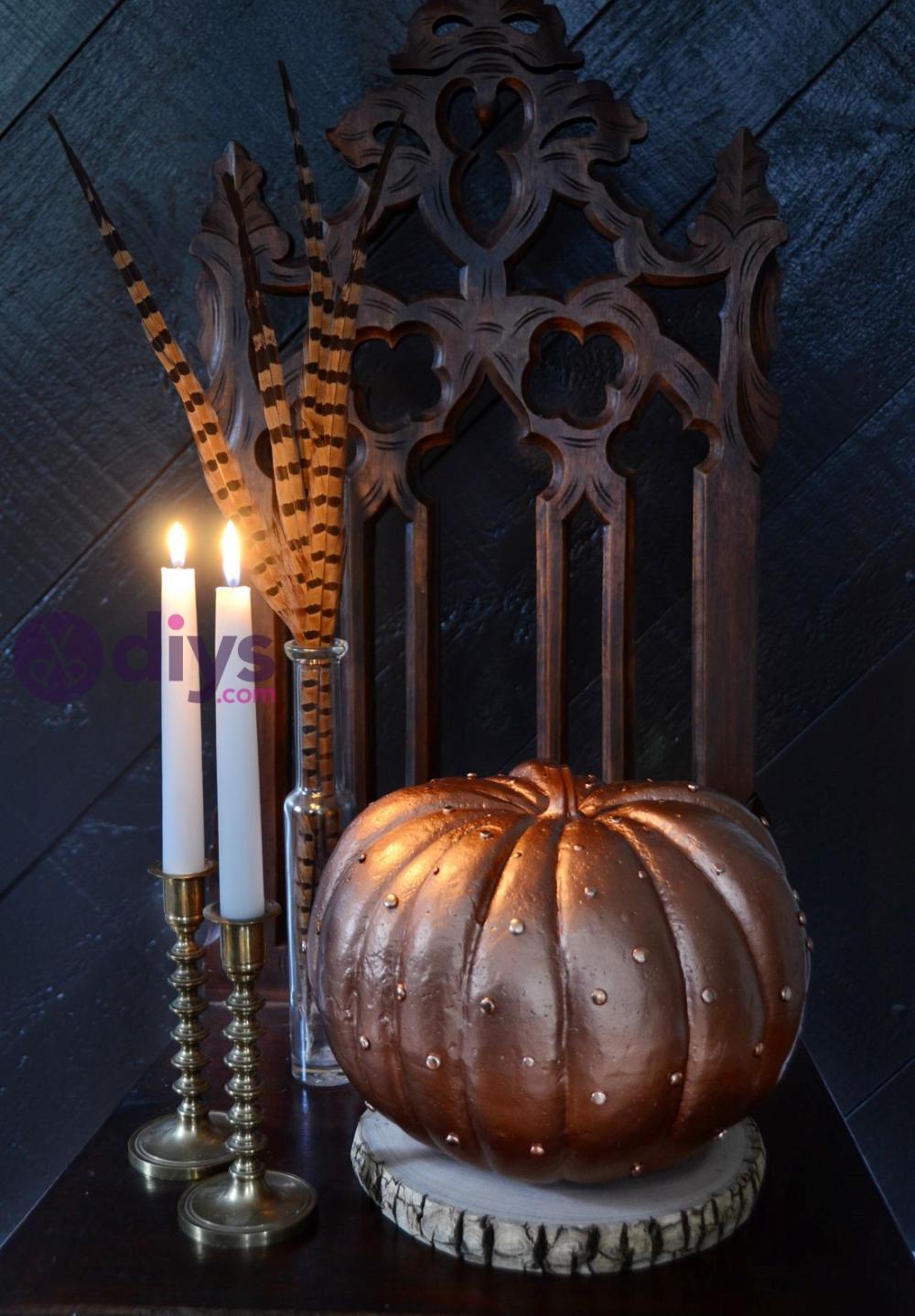 Glamorous copper halloween pumpkin decoration