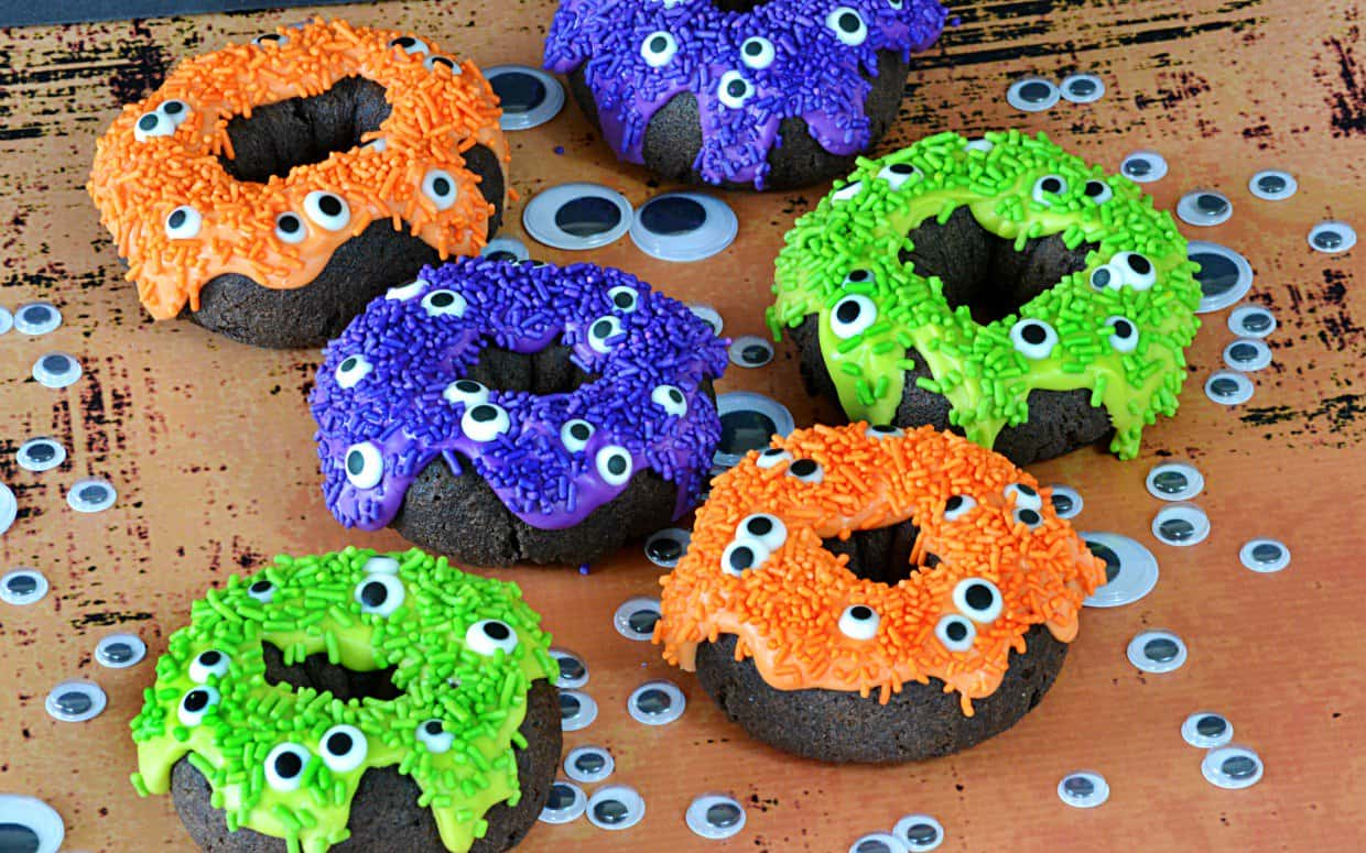 Googly eye monster donuts
