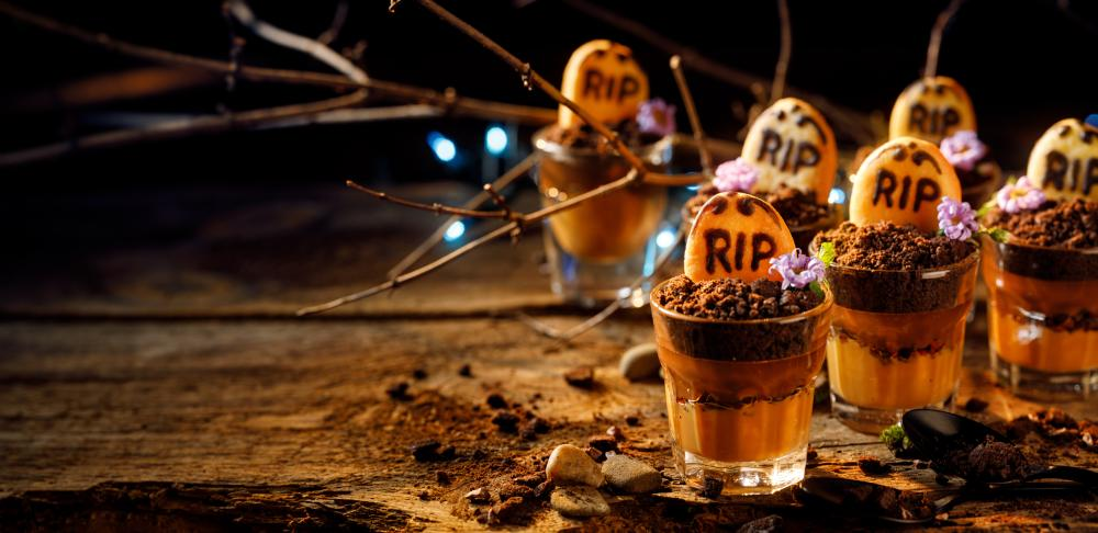 Graveyard chocolate mousse cups halloween party appetizers