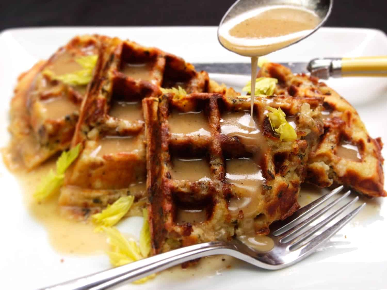Gravy smothered thanksgiving stuffing waffles