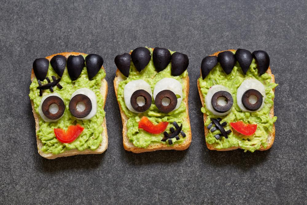 Green monster guac sandwiches halloween finger foods