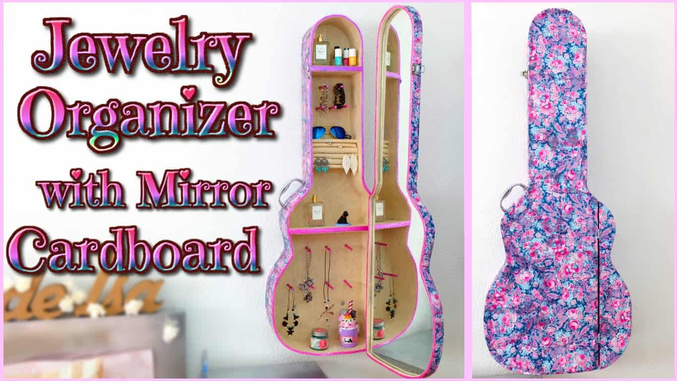 Guitar case jewelry organizer with mirror