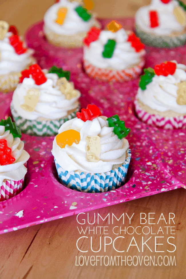 Gummy bear white chocolate cupcakes