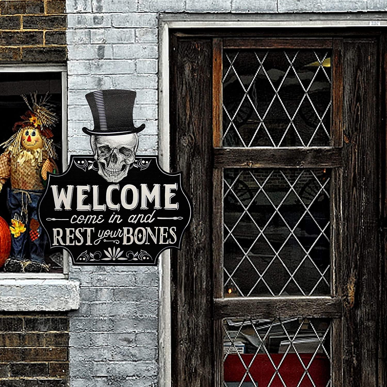 Halloween door ideas skeleton welcome sign
