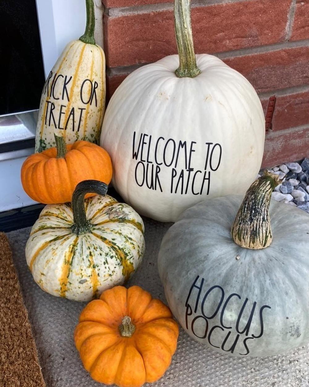 Halloween pumpkins with stickers