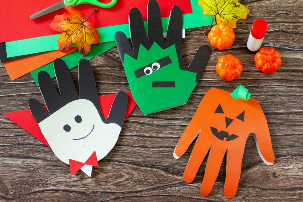 Hand shaped greeting cards halloween construction paper crafts