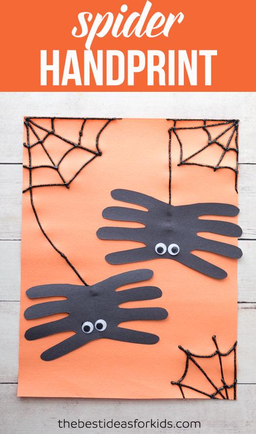 Handprint halloween spider craft for kids