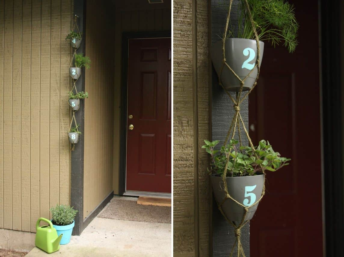 Hanging macarame planter numbers