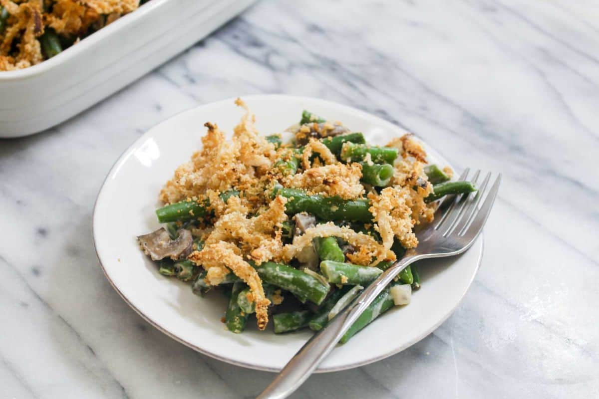 Healthy green bean casserole with homemade crispy onions recipe