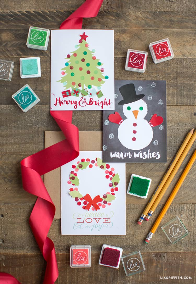 Kids stamped holiday card craft