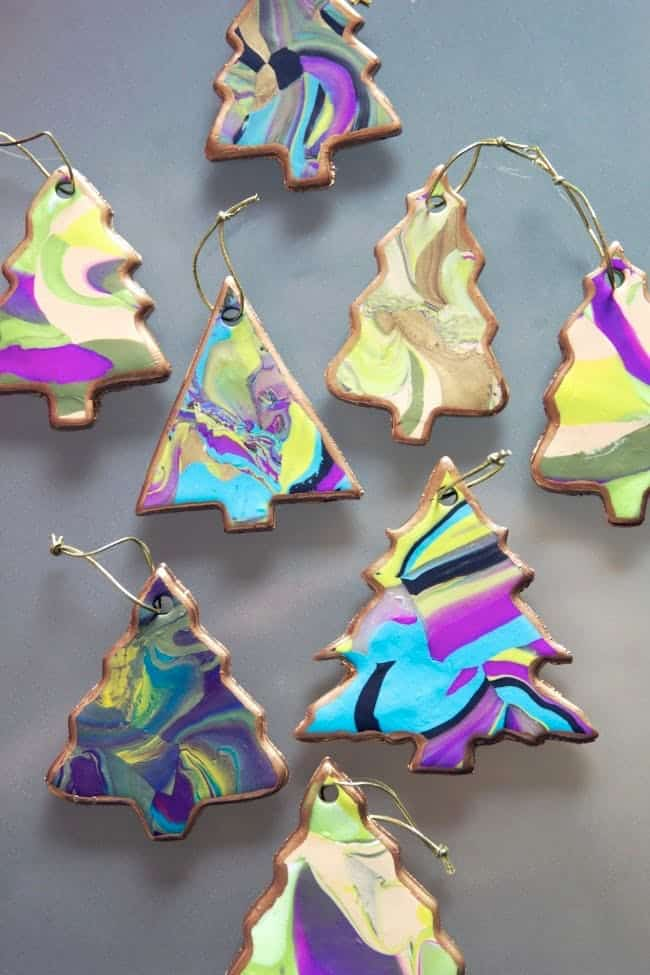 Marble christmas tree ornaments