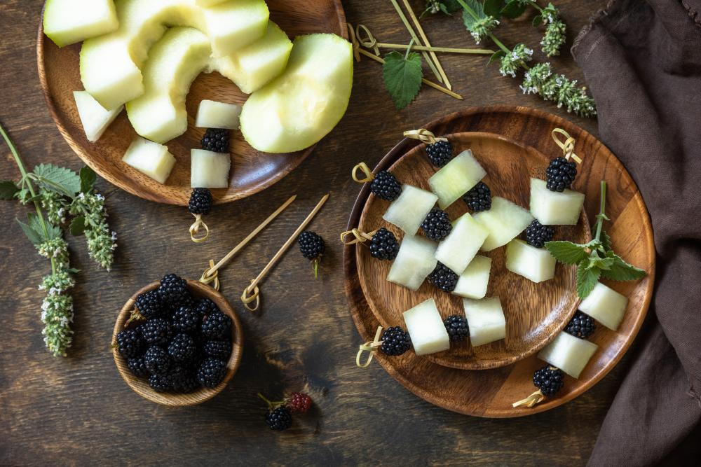 Melon berry canapes halloween appetizer ideas