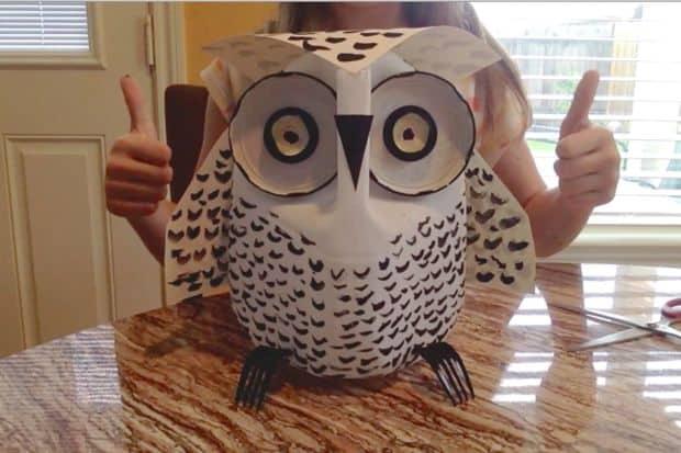 Milk jug and jar lid owl
