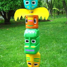 Milk jug totem pole