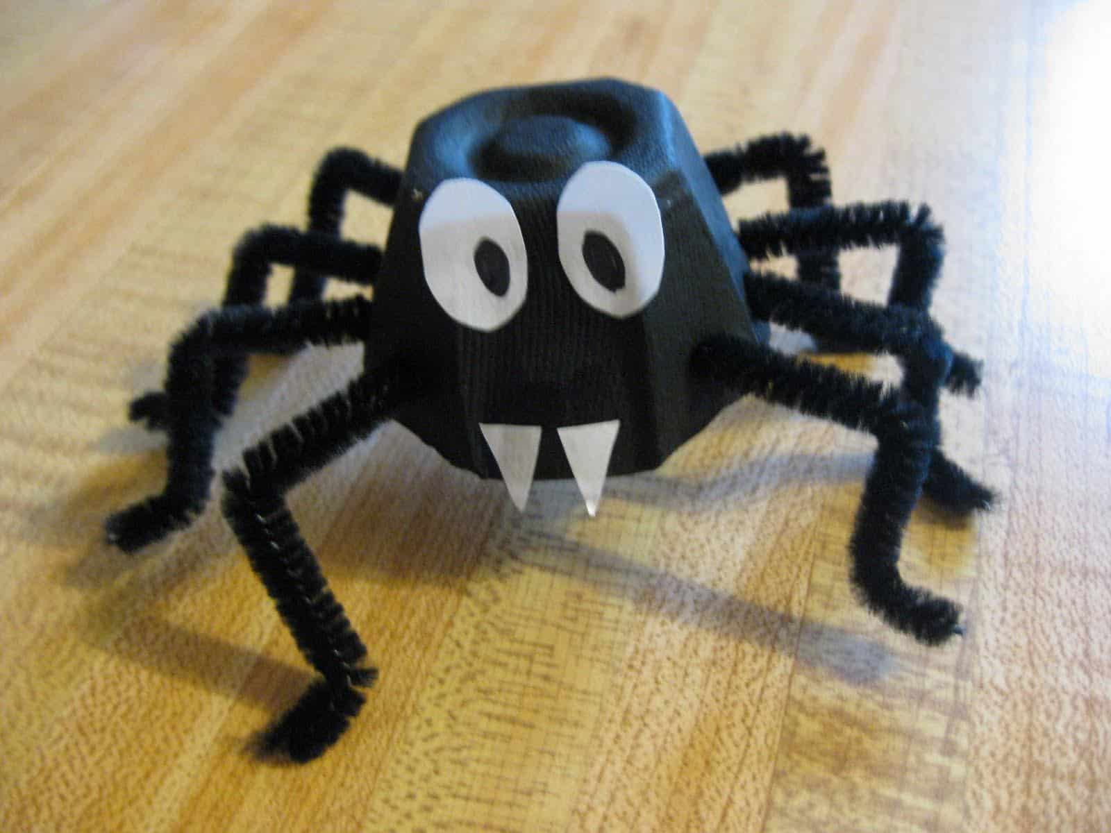 Mini egg carton spiders