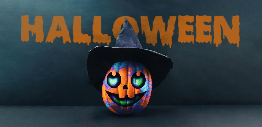 Multicolored witch halloween pumpkin faces