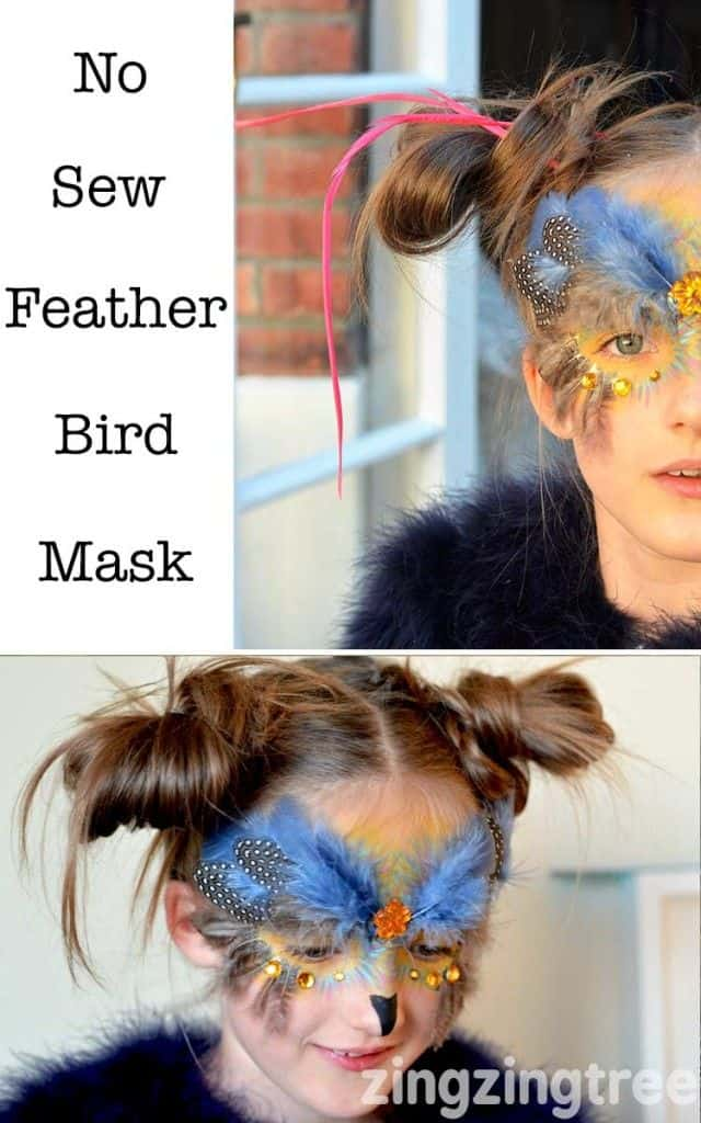 No sew feathered bird mask