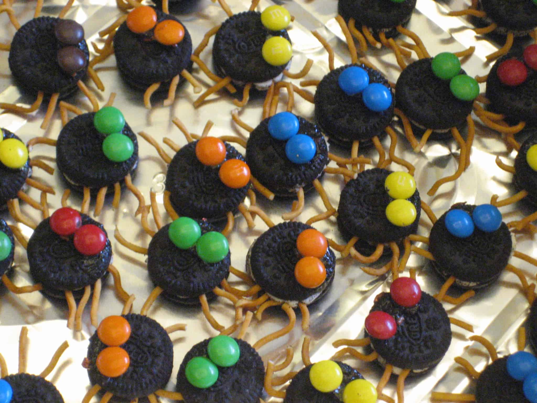 Oreo and m&m spiders