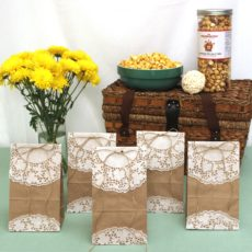 Paper and lace party bags