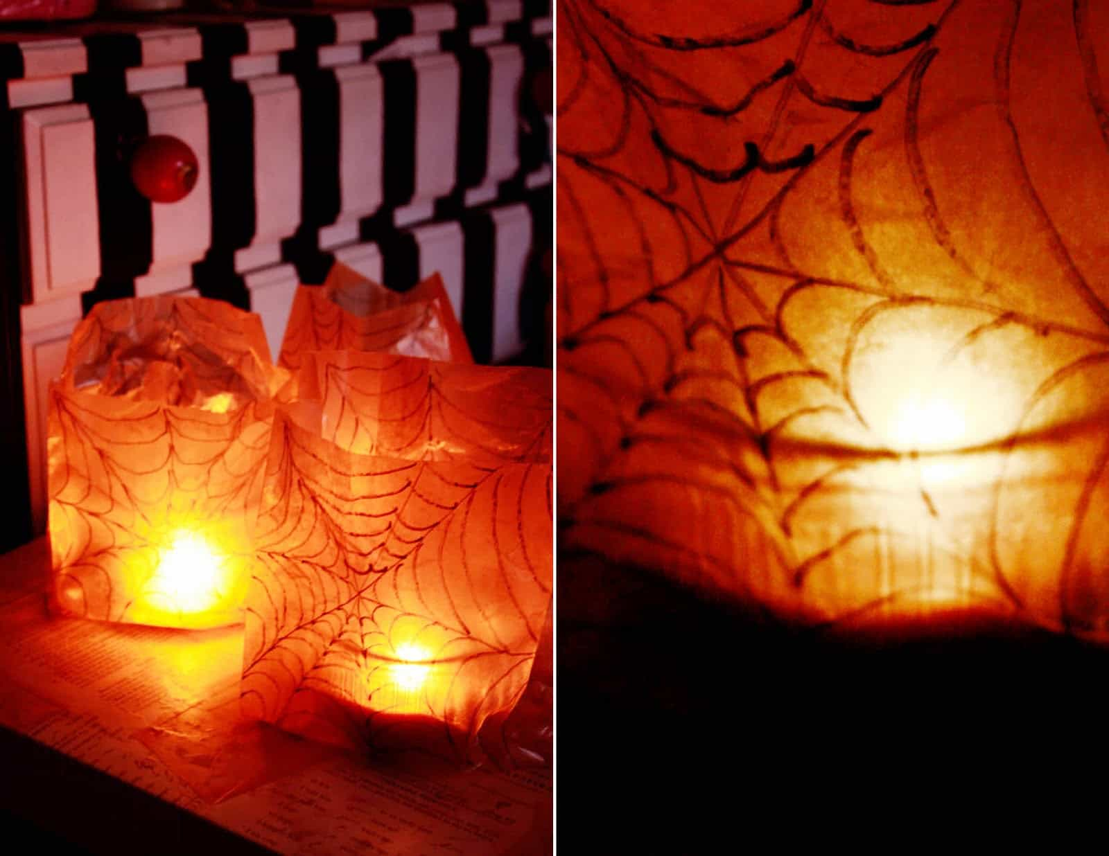 Paper bag spider web luminaries