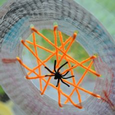 Paper plate and yarn cobweb