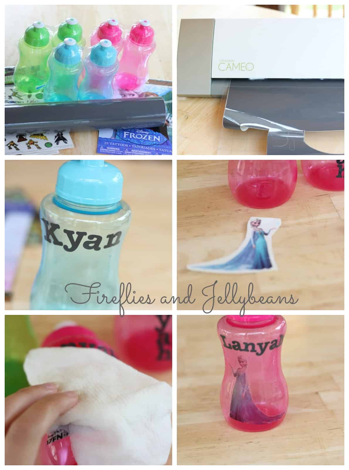 Personalized water bottles made with temporary tattoos