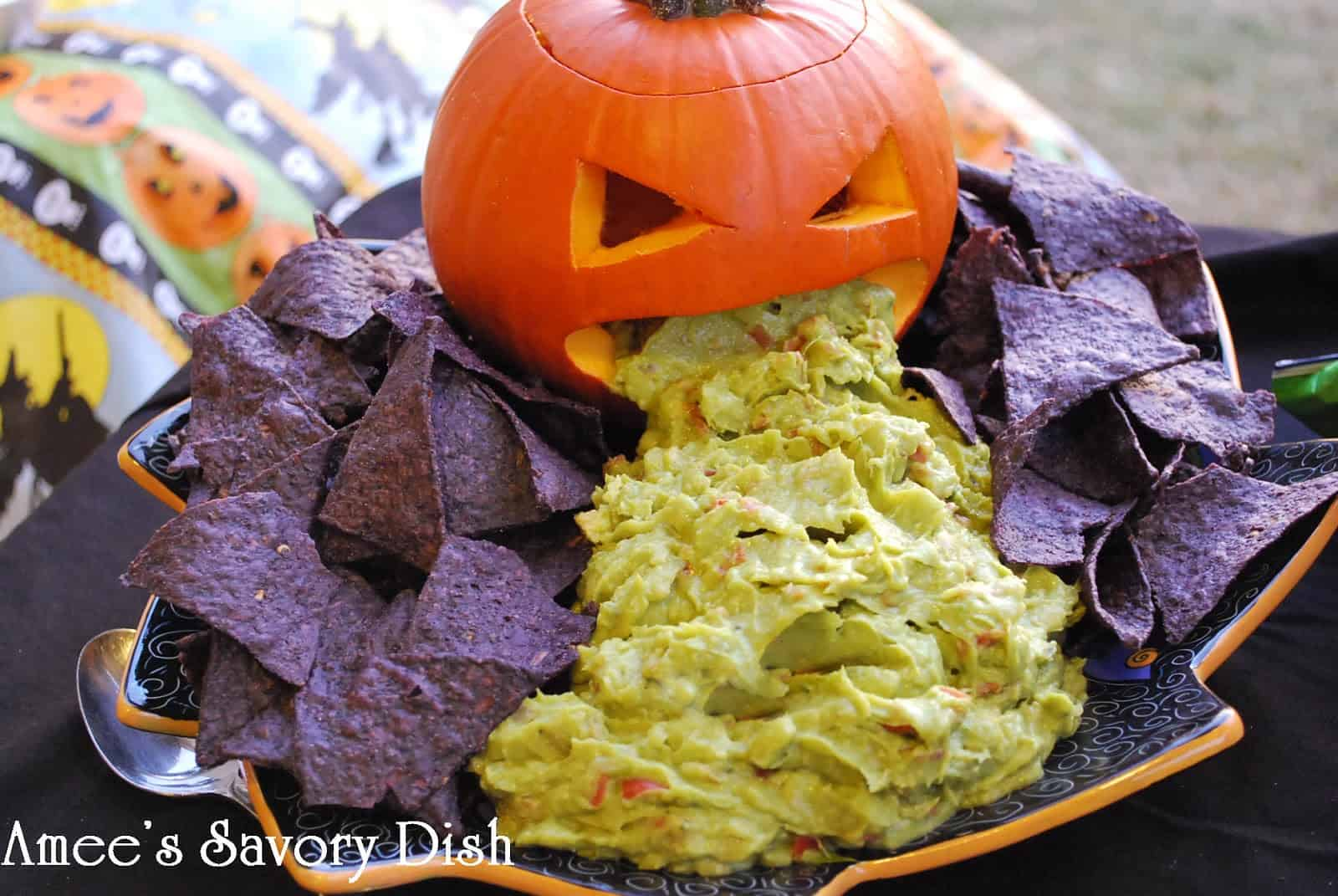 Puking pumpkin guacamole