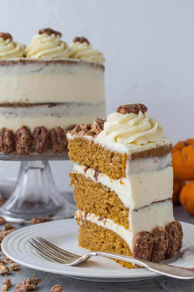 Pumpkin layer cake with mascarpone cream and sugared pecans slice