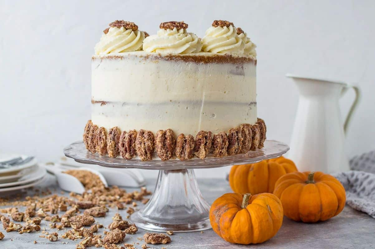 Pumpkin layer cake with mascarpone cream and sugared pecans