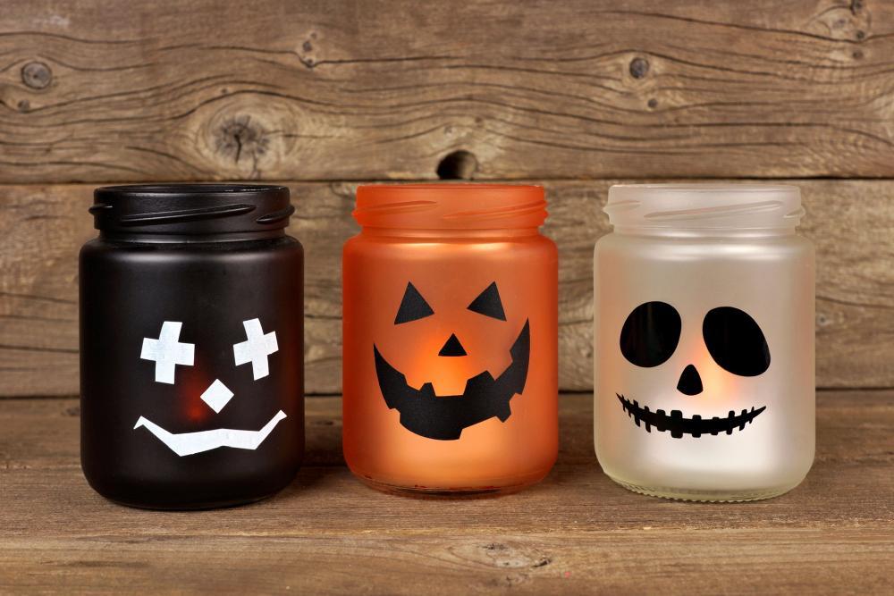 Pumpkin mason jar candle holders halloween craft ideas for kids