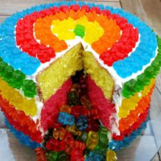 Rainbow gummy bear pinata cake