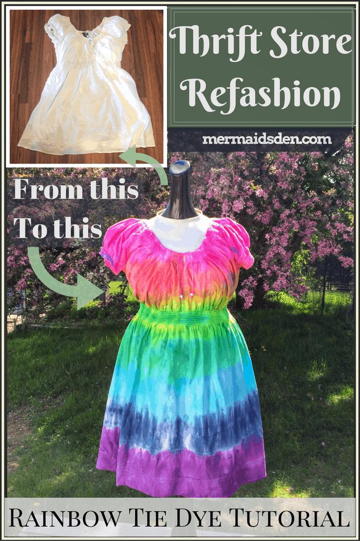 Rainbow tie dye dress