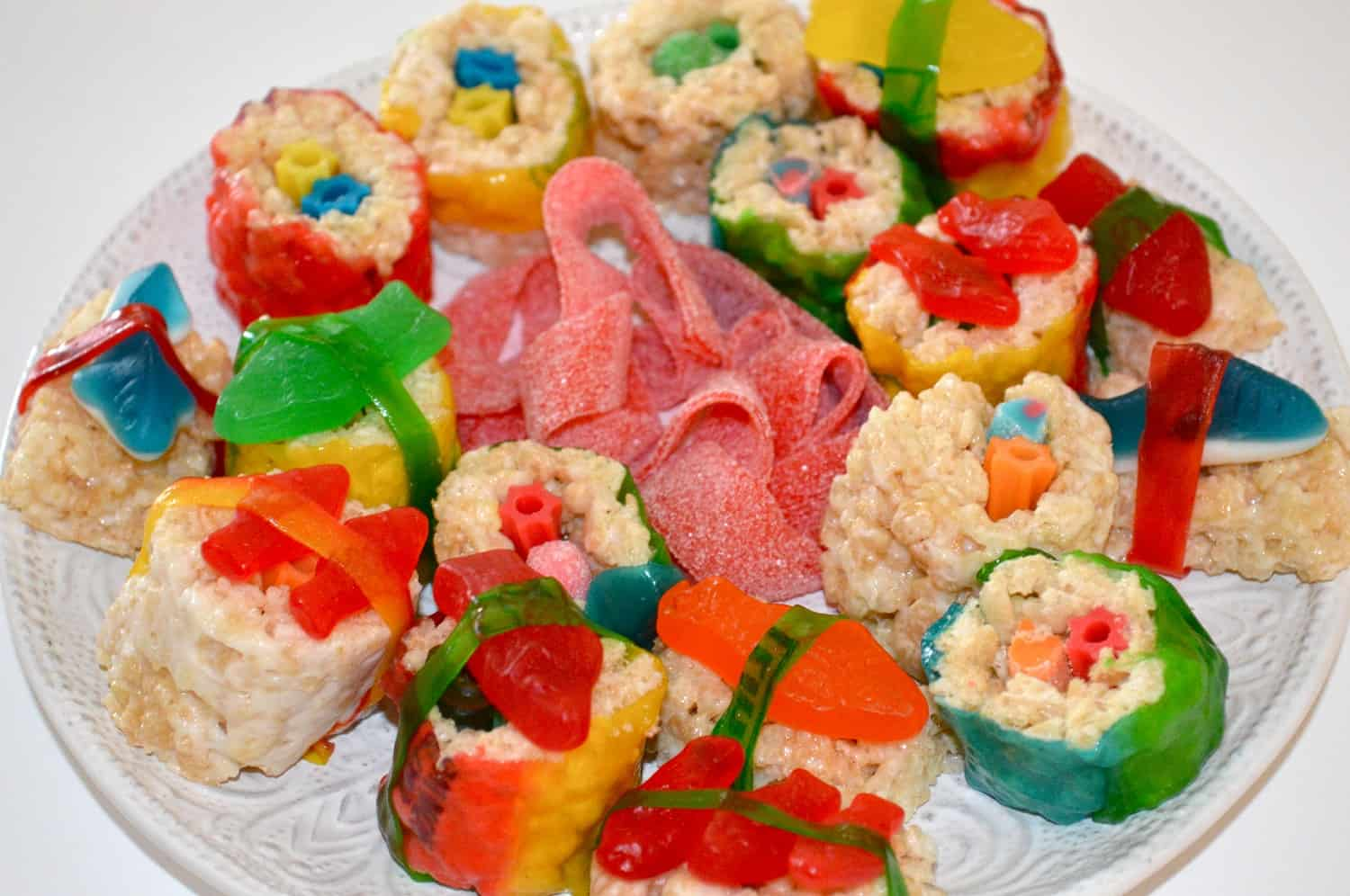 Rice krispy treat and fummy candy sushi