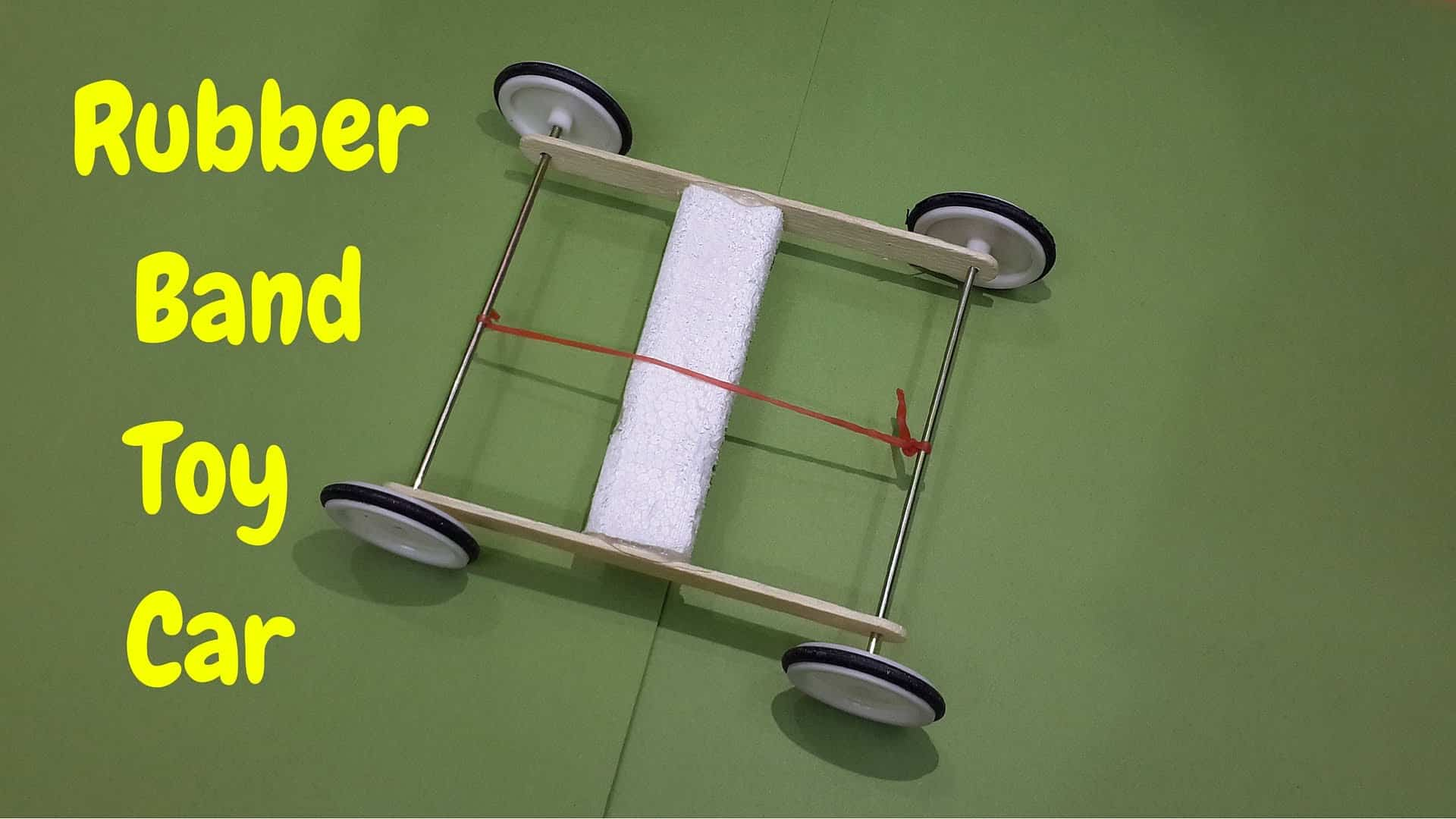 Rubber band powered toy car