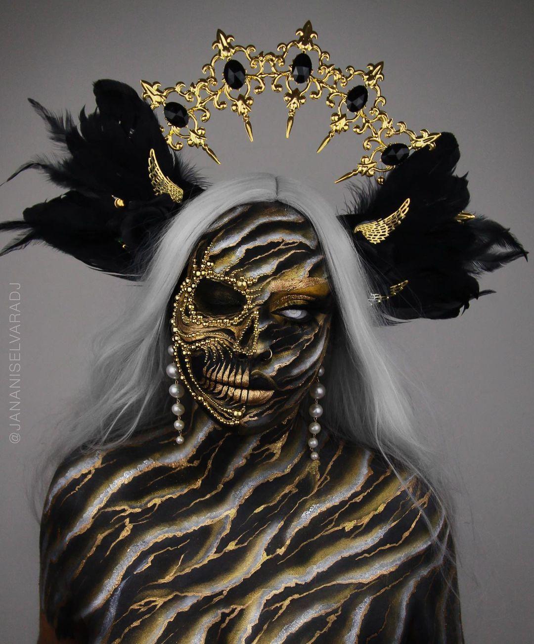 Scary halloween makeup golden skull
