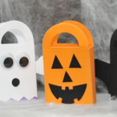 Scrap paper candy bags with handles