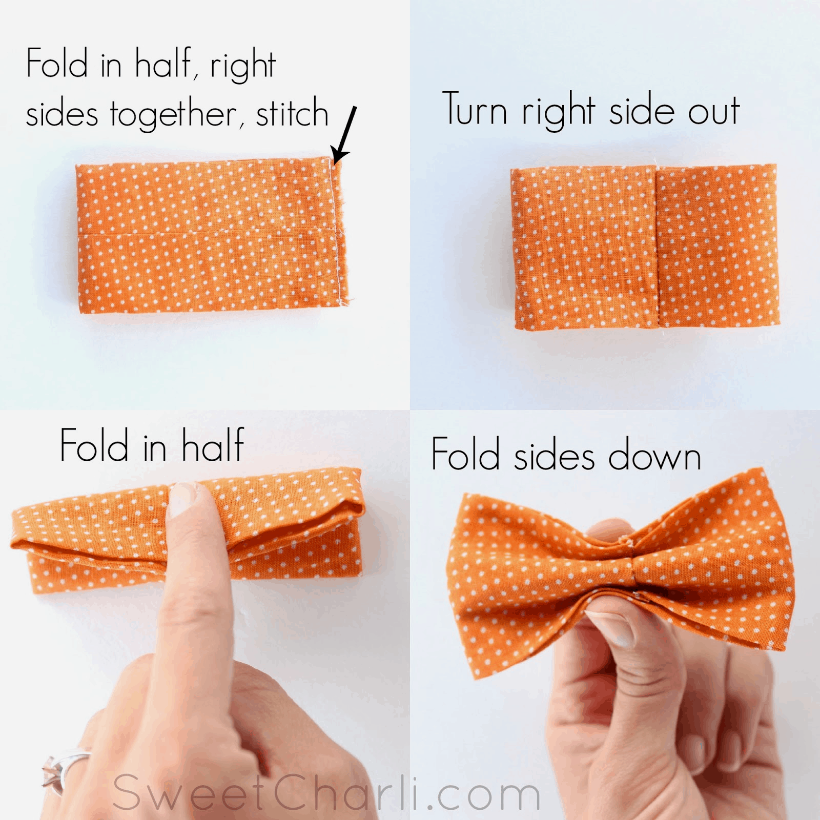 Simple diy bow tie sewing pattern