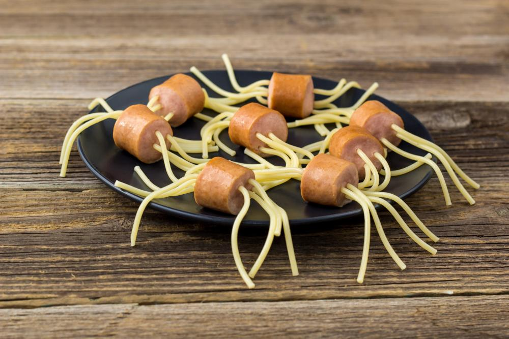 Spider spaghetti sausages buffet halloween party food