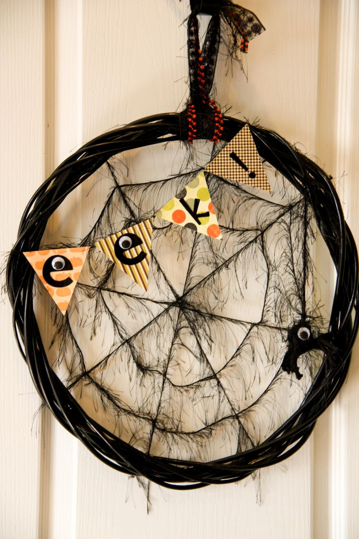 Spider web halloween wreath funny spider