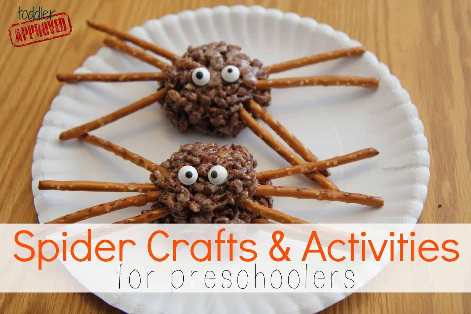 Spider rice crispy treats with pretzel legs