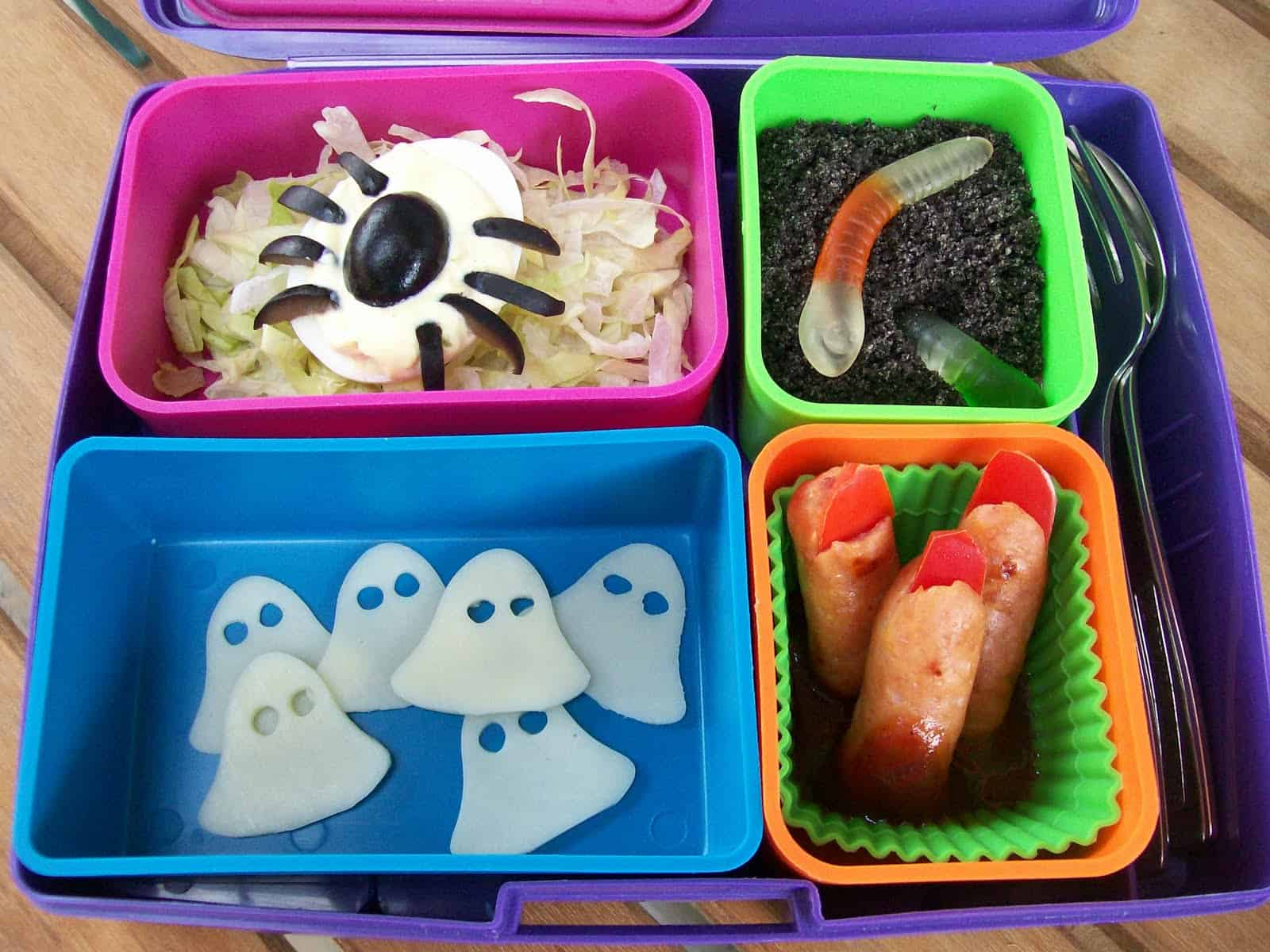 Spiders, ghosts, and finger bento box