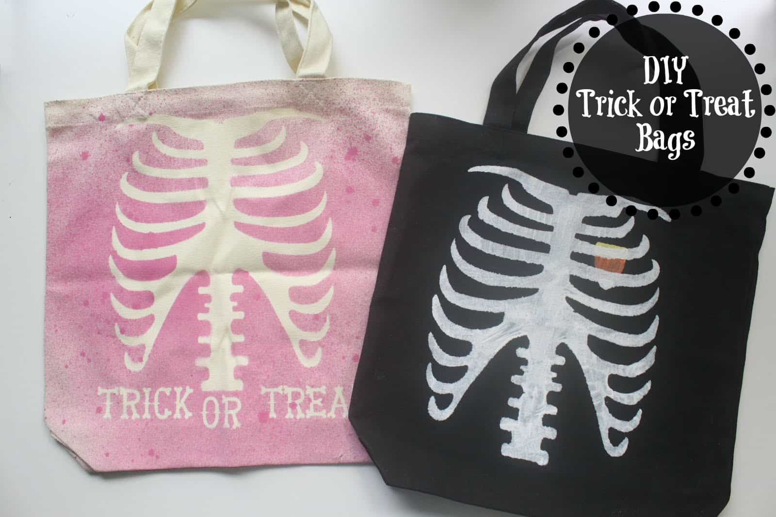 Stencilled skeleton trick or treat bags
